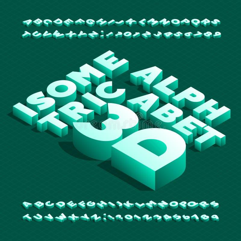 isometrisk stilsort för alfabet 3D effekt 3d satte en klocka på bokstäver och nummer med skugga vektor illustrationer