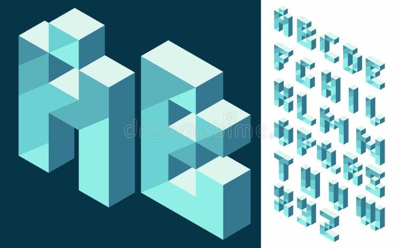 Isometrisk stilsort för vektor 3d vektor illustrationer