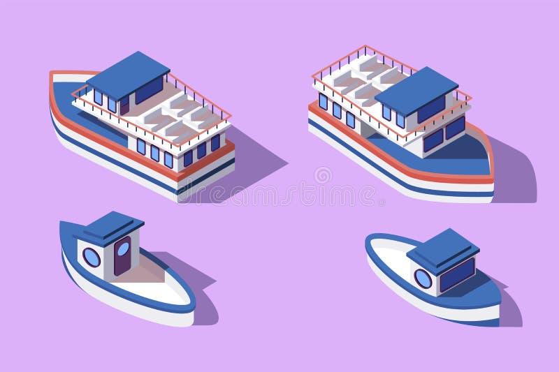 isometrisk stor 3d och litet fartyg och pråm stock illustrationer