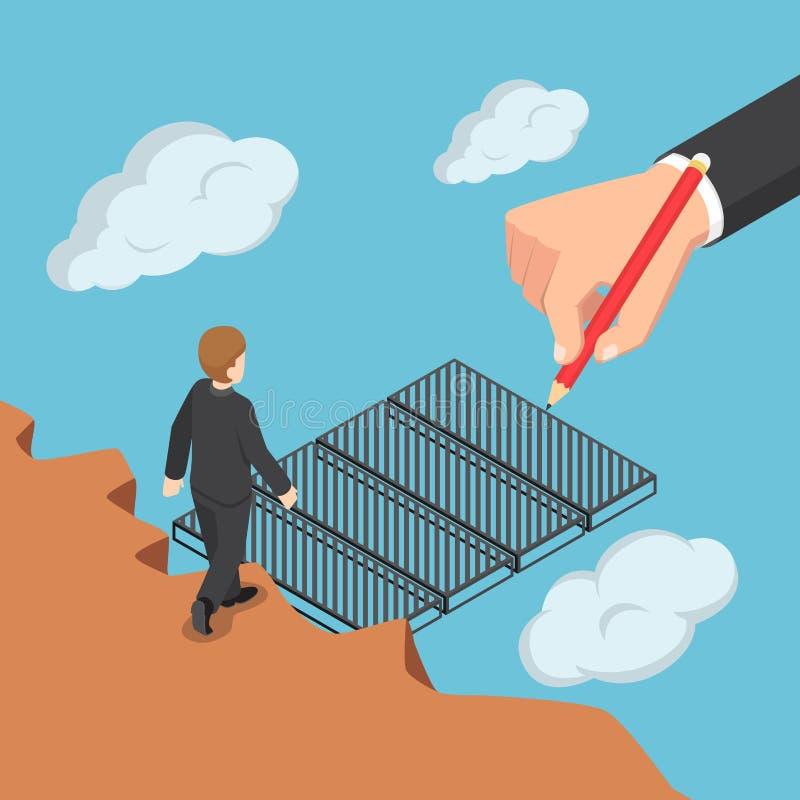 Isometrisk stora affärerhand som drar bron för att hjälpa affär vektor illustrationer