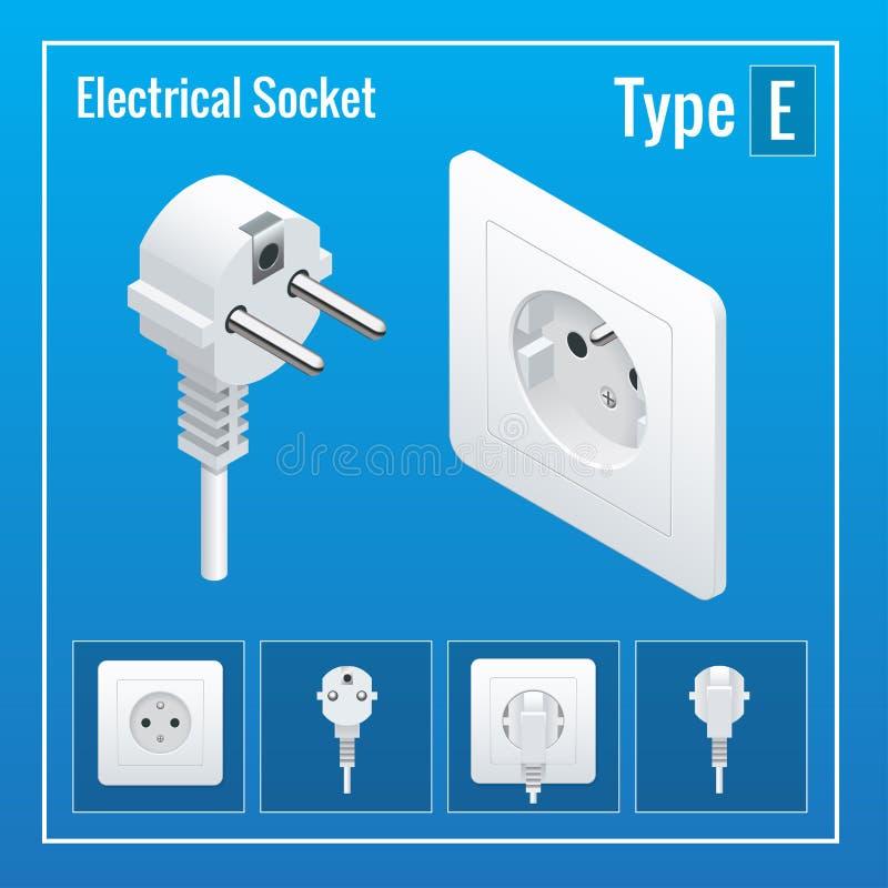 Isometrisk strömbrytare- och hålighetuppsättning Typ E stock illustrationer