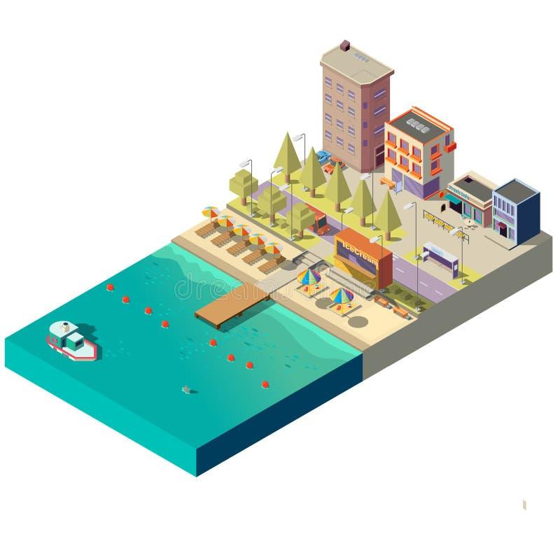 Isometrisk strand för vektor 3d Hotell på strandpromenad stock illustrationer