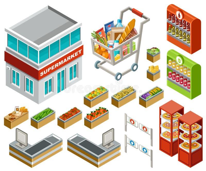 Isometrisk supermarket royaltyfri illustrationer