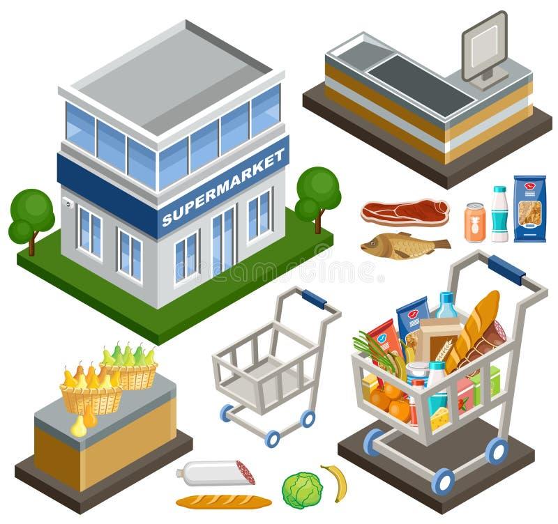 Isometrisk supermarket stock illustrationer
