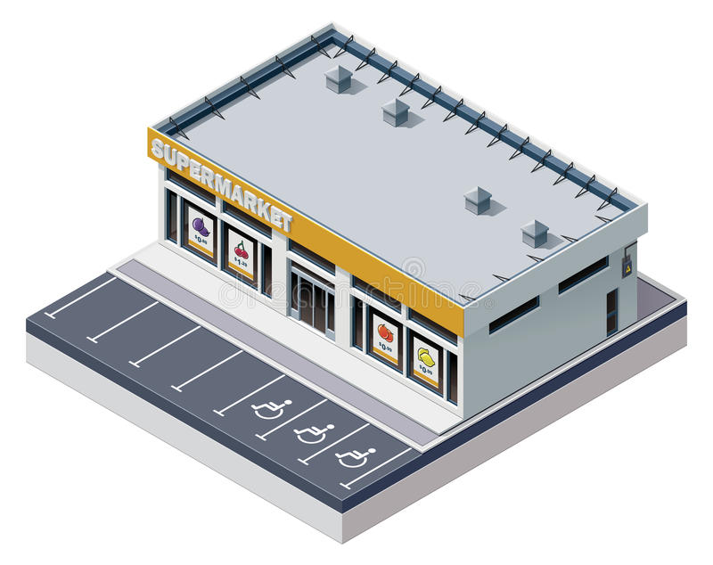 Isometrisk supermarketbyggnad för vektor stock illustrationer