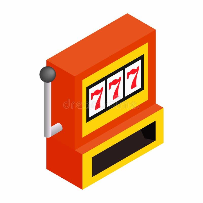 Isometrisk symbol 3d för enarmad banditjackpott royaltyfri illustrationer