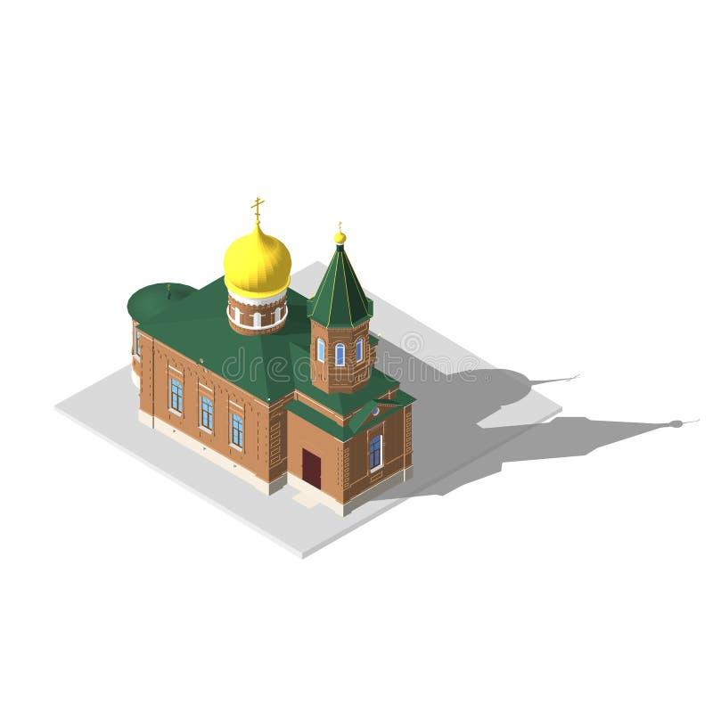 Isometrisk symbol 3D för kyrklig byggnad för illustrationsköld för 10 eps vektor vektor illustrationer