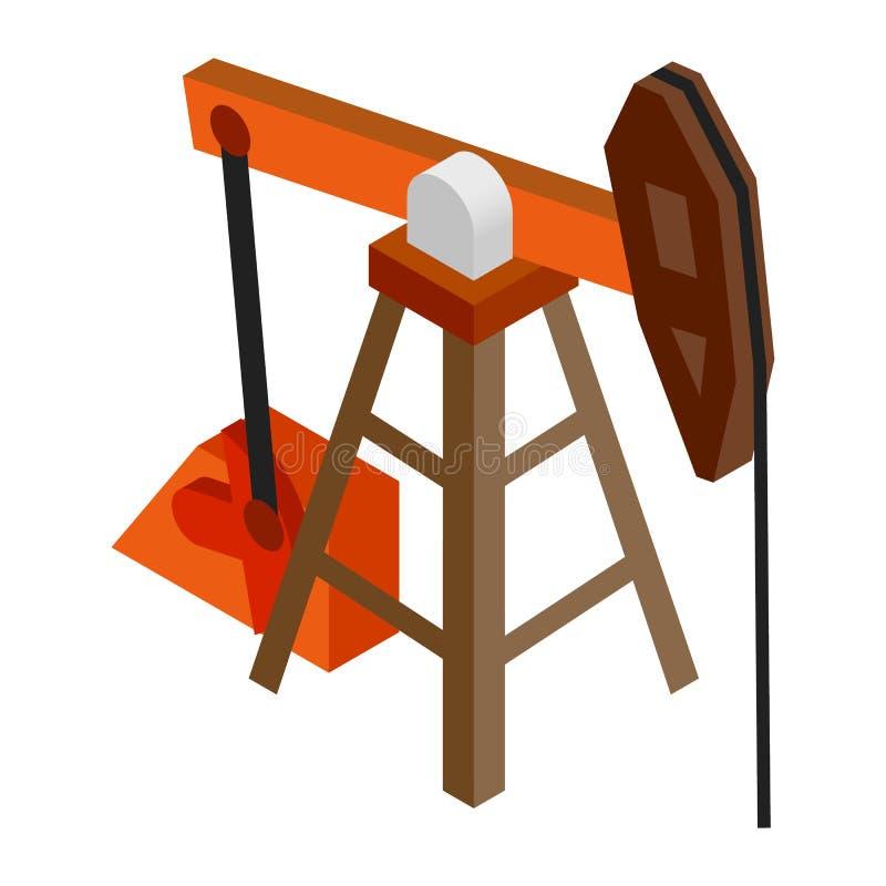Isometrisk symbol 3d för olje- pump royaltyfri illustrationer