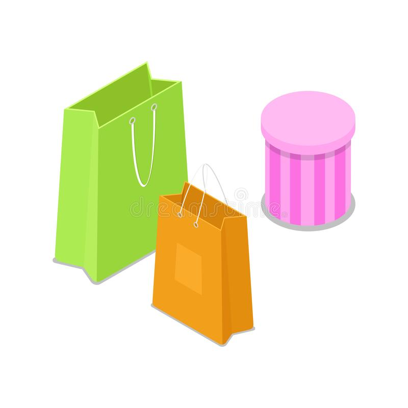 Isometrisk symbol 3D för shoppingpåse vektor illustrationer