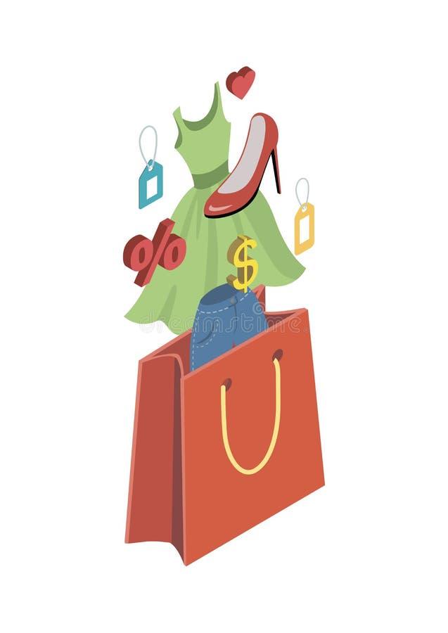 Isometrisk symbol 3D för shoppingpåse stock illustrationer