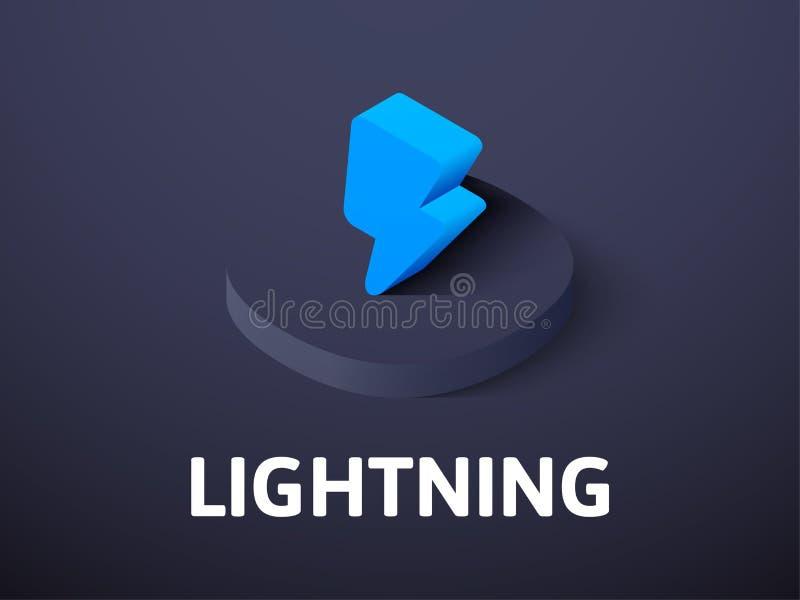 Isometrisk symbol för blixt som isoleras på färgbakgrund royaltyfri illustrationer
