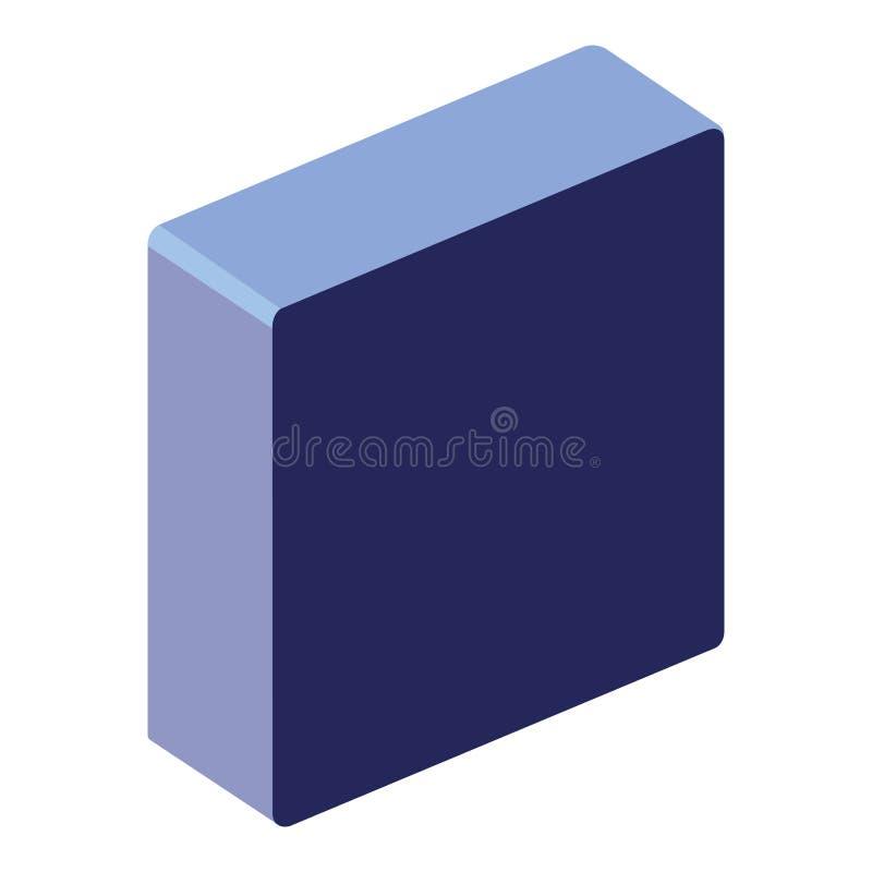 Isometrisk symbol för fyrkantig knapp stock illustrationer