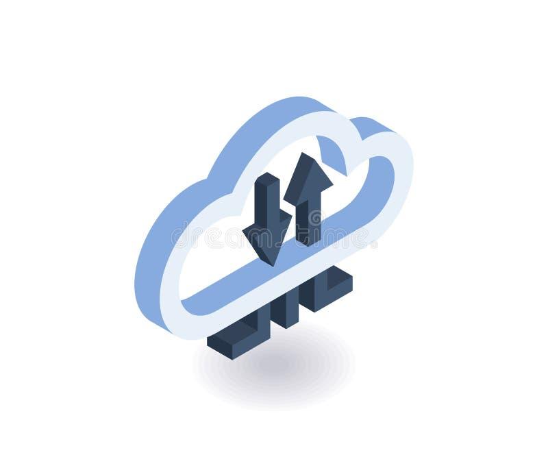 Isometrisk symbol för molnteknologier Illustration för vektor 3D för rengöringsdukdesign stock illustrationer