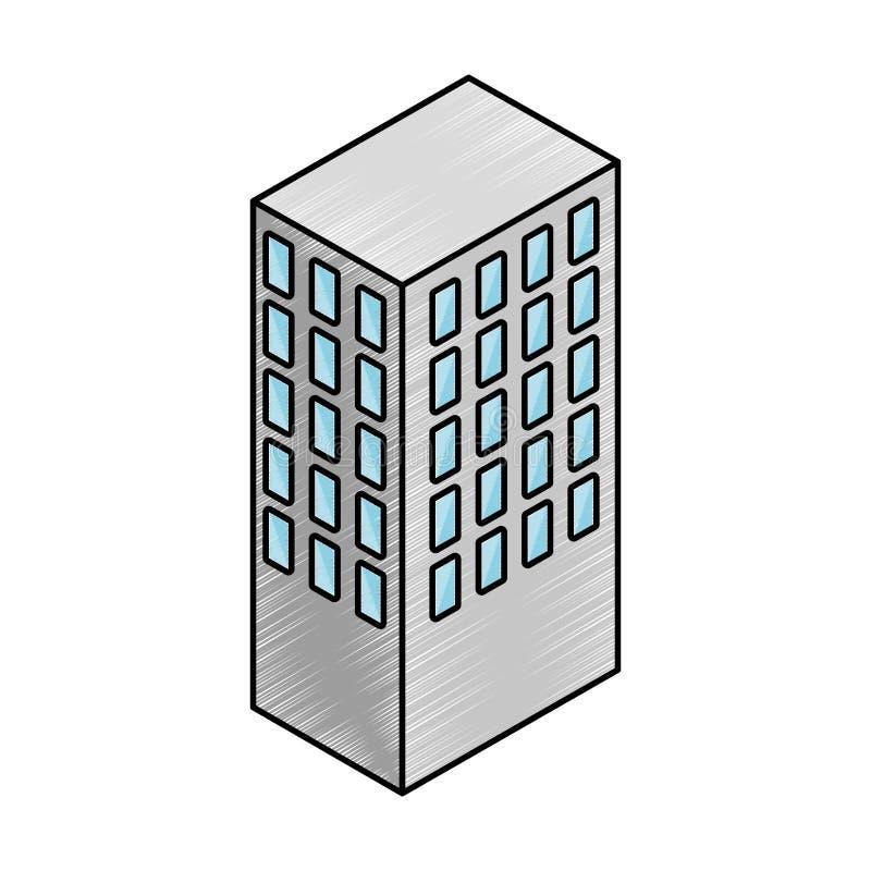 Isometrisk symbol för servertorn stock illustrationer