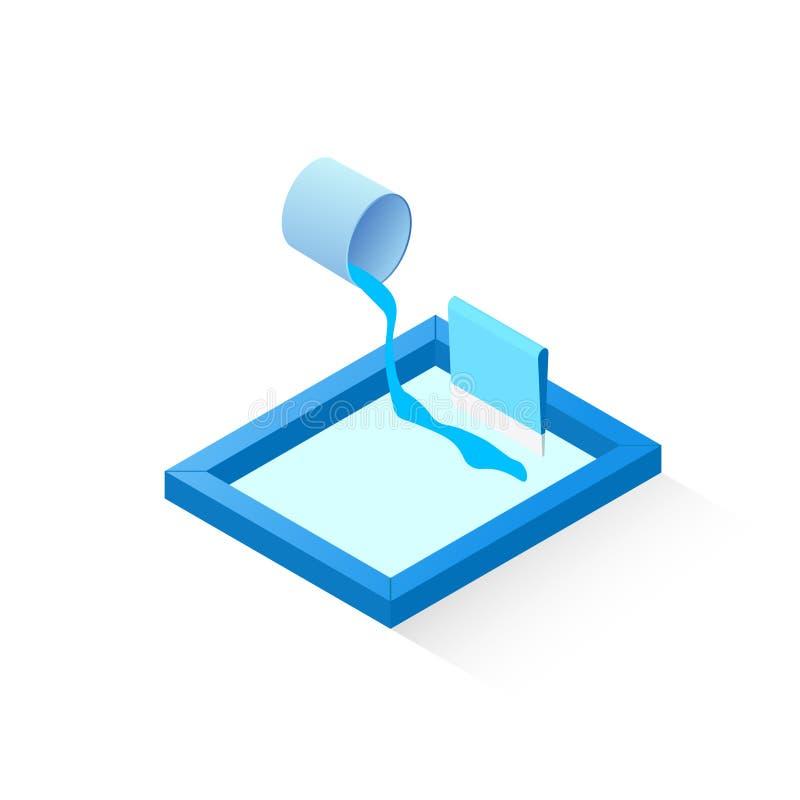 Isometrisk symbol för skärmtryck stock illustrationer