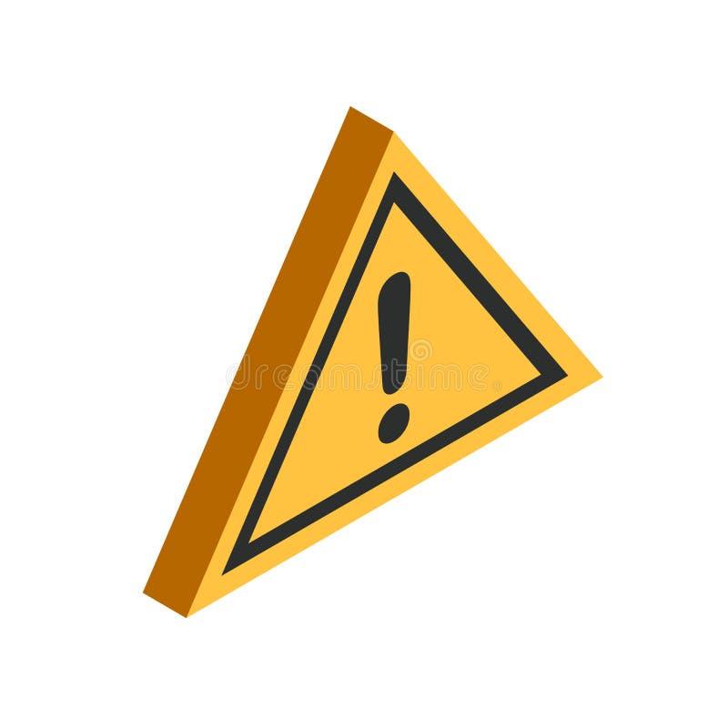 Isometrisk symbol för varningstriangel vektor illustrationer