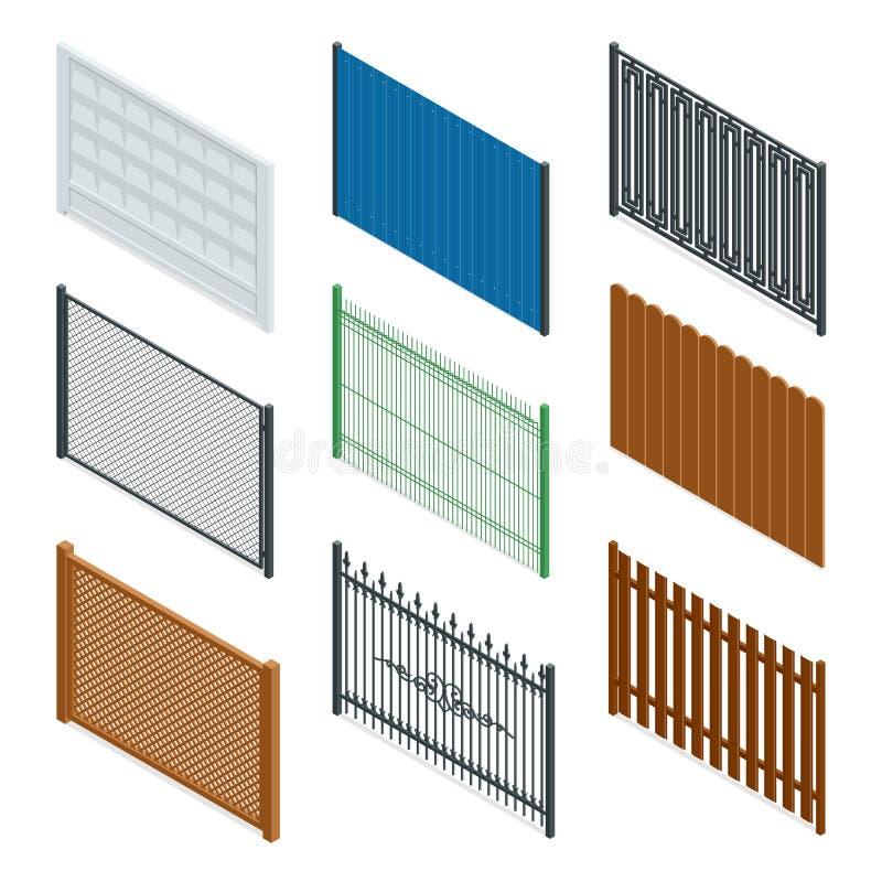 Isometrisk symbol för vektor eller infographic olika designer av staket och portar på en vit bakgrund Stenstaket royaltyfri illustrationer