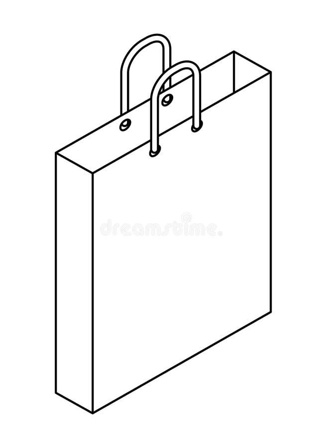Isometrisk symbol f?r shoppingp?se vektor illustrationer