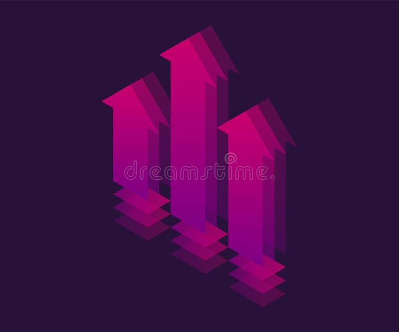 Isometrisk symbol f?r tillv?xt Illustration f?r vektor 3d stock illustrationer