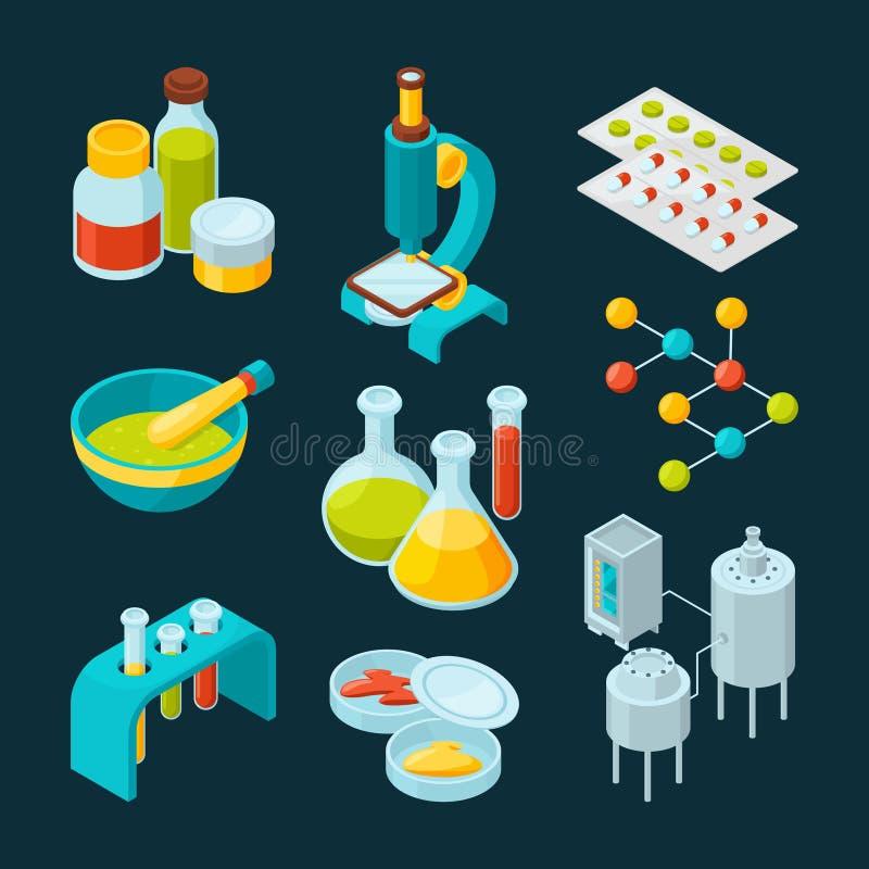 Isometrisk symbolsuppsättning av farmaceutisk bransch och det vetenskapliga temat vektor illustrationer