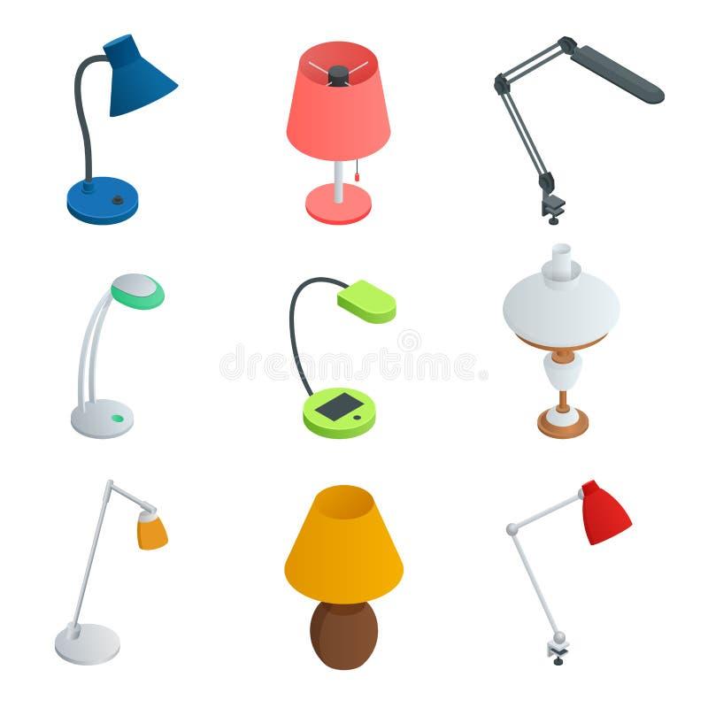 Isometrisk symbolsuppsättning av lampor Modern designelägenhetstil stock illustrationer