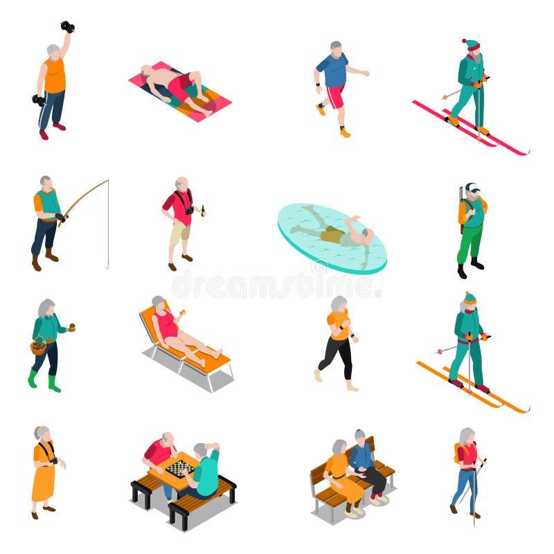 Isometrisk symbolsuppsättning för äldre folk vektor illustrationer