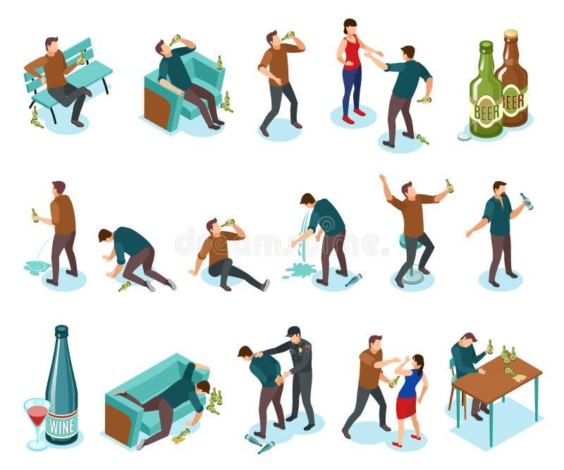 Isometrisk symbolsuppsättning för alkoholism vektor illustrationer
