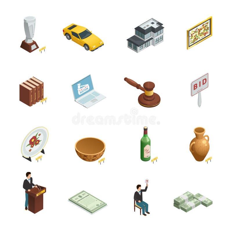 Isometrisk symbolsuppsättning för auktion vektor illustrationer