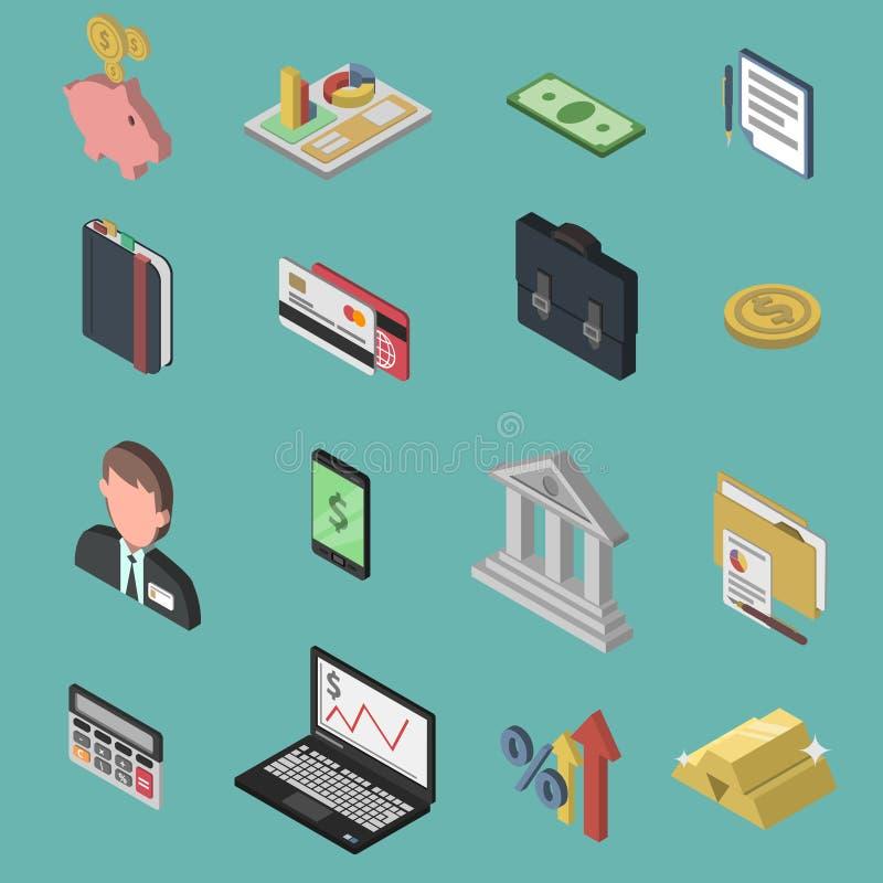 Isometrisk symbolsuppsättning för bank stock illustrationer