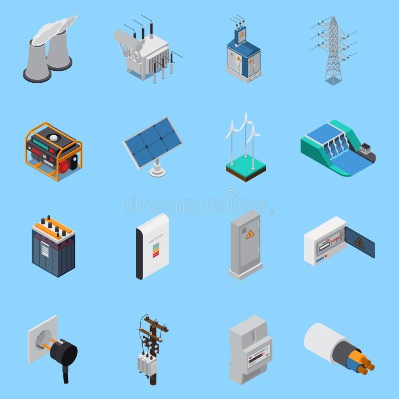 Isometrisk symbolsuppsättning för elektricitet vektor illustrationer