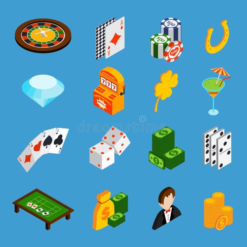 Isometrisk symbolsuppsättning för kasino stock illustrationer