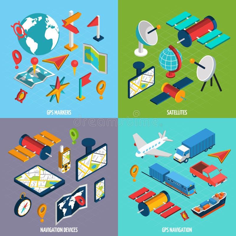Isometrisk symbolsuppsättning för navigering stock illustrationer