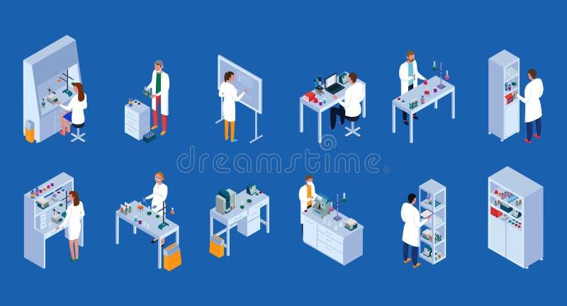 Isometrisk symbolsuppsättning för vetenskapligt laboratorium royaltyfri illustrationer