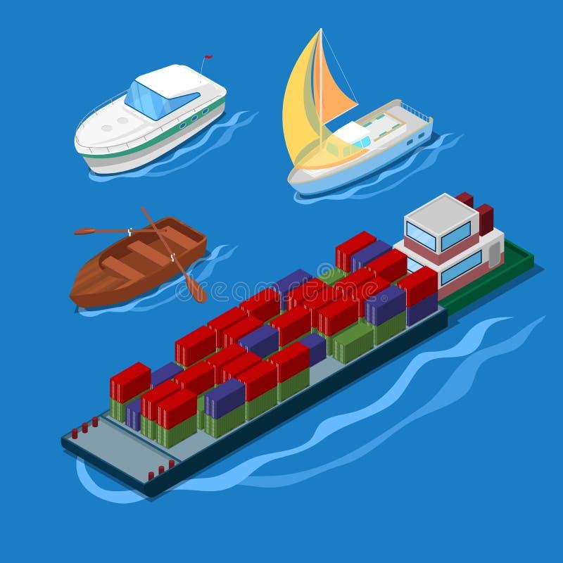 Isometrisk symbolsuppsättning med yachten och fartyg för semester för behållareskepp stock illustrationer