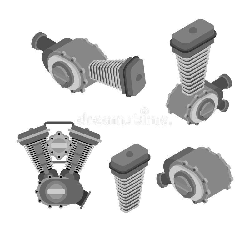 Isometrisk tävlings- uppsättning för motor Isolerad motorisk motorcykel Vektor mig stock illustrationer