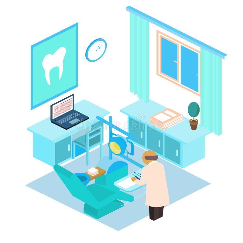 Isometrisk tand- klinik för vektor color dräkten för leenden för kanin för flickaillustrationen den älskvärda vit royaltyfria foton