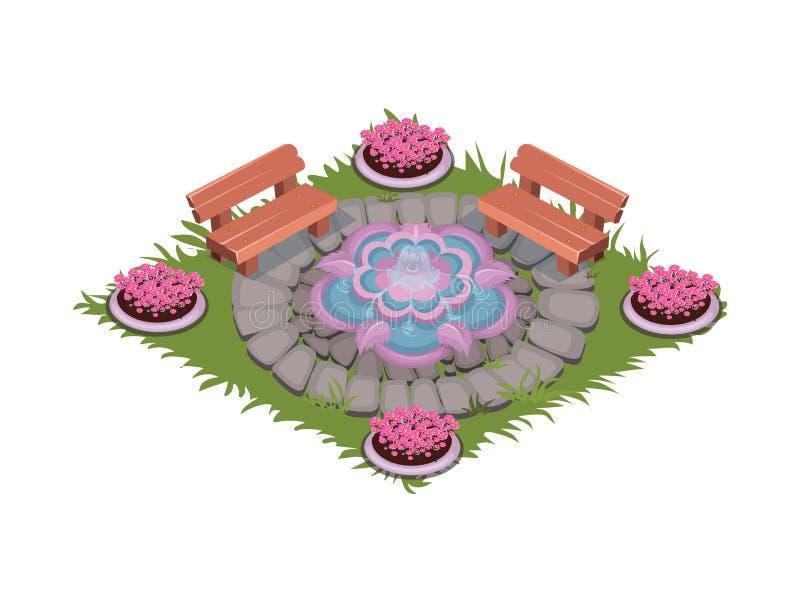 Isometrisk tecknad film stenlagd fyrkantig uteplats med springbrunnen, bänkar och blomsterrabatter stock illustrationer