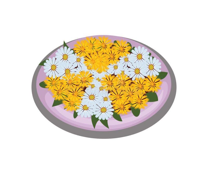 Isometrisk tecknad filmblommaBush säng med Symmetrically planterade vit- och gulingtusenskönor stock illustrationer