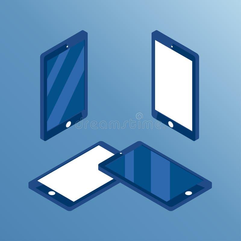 Isometrisk telefonuppsättning stock illustrationer