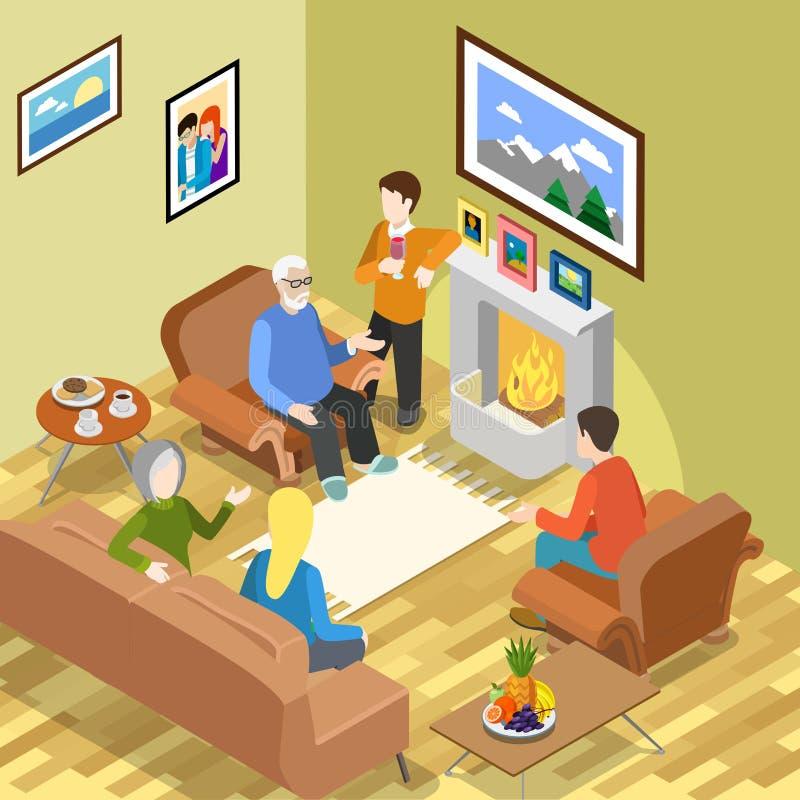 Isometrisk tid för kaffe för spisen för familjhemmet kopplar av royaltyfri illustrationer