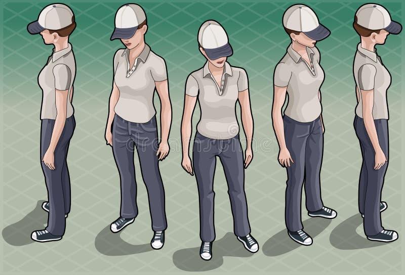 Isometrisk tjänste- kvinna i fem positioner stock illustrationer