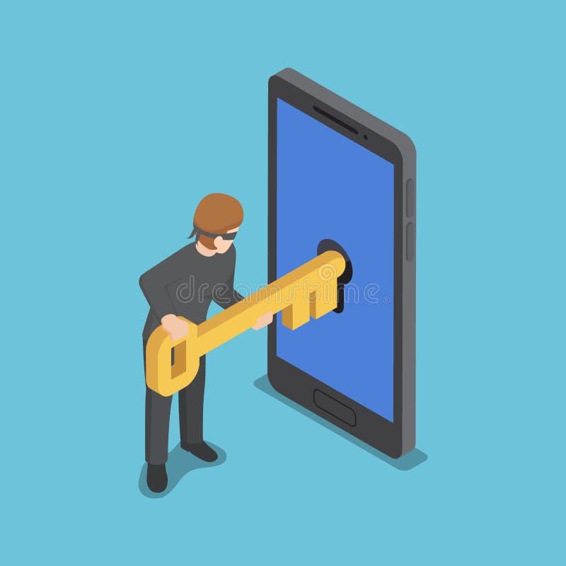 Isometrisk tjuv- eller en hackerbrukstangent som ska hackas in i smartphonen vektor illustrationer