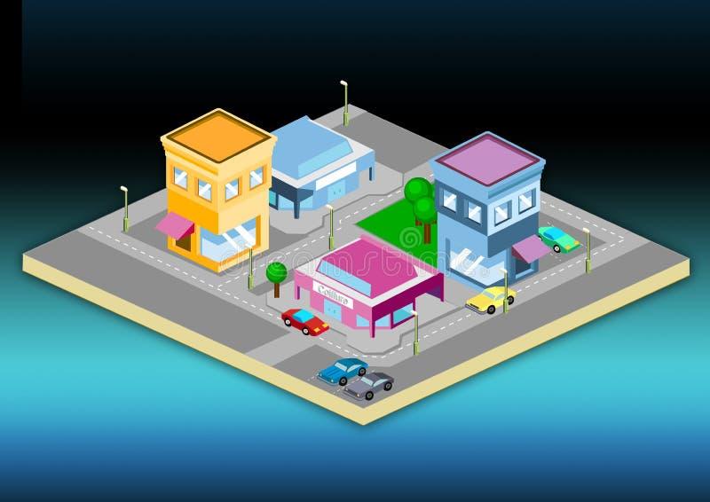 isometrisk town royaltyfri illustrationer