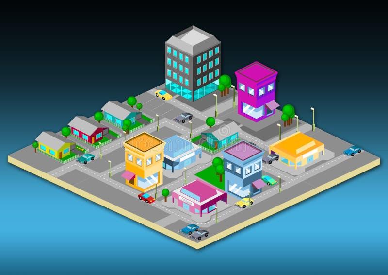 isometrisk town stock illustrationer