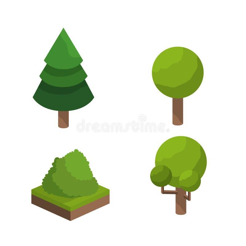 isometrisk träddesign vektor illustrationer