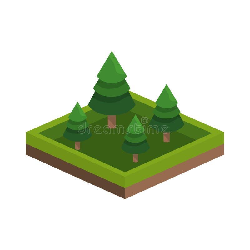 isometrisk träddesign stock illustrationer