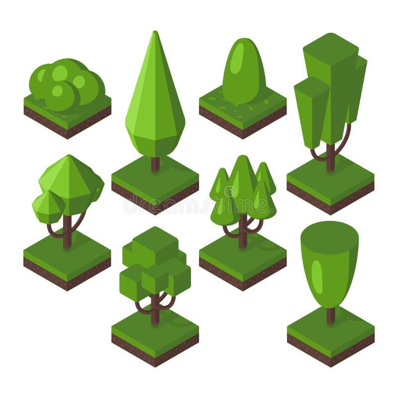 Isometrisk trädvektorillustration stock illustrationer