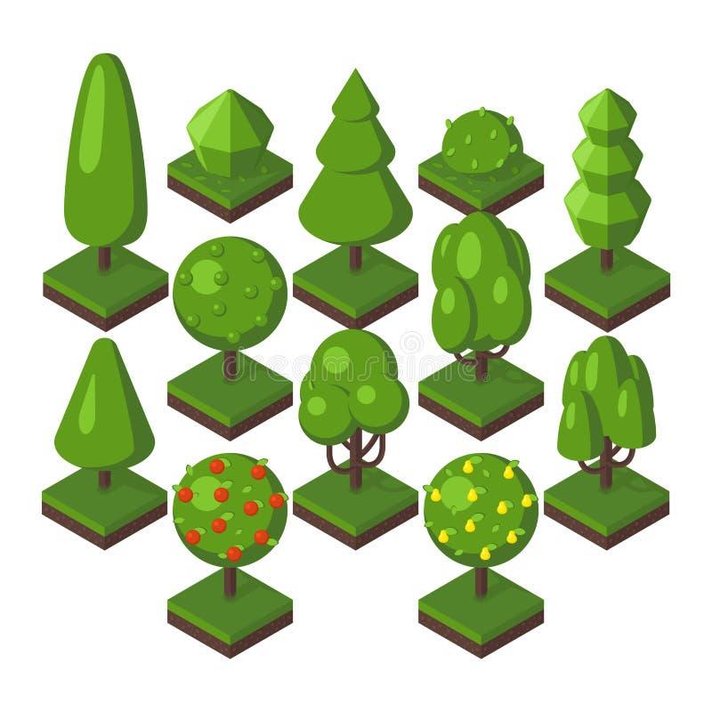 Isometrisk trädvektorillustration royaltyfri illustrationer