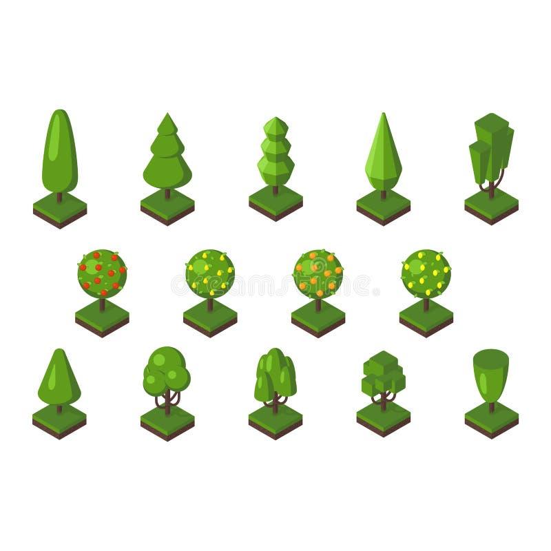 Isometrisk trädvektorillustration vektor illustrationer