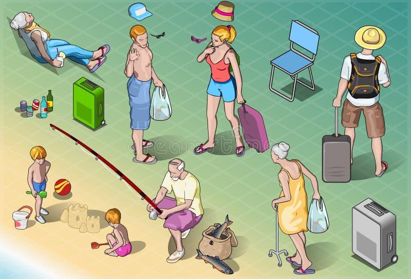 Isometrisk turistfolkuppsättning i semester royaltyfri illustrationer